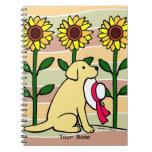 Labrador amarillo personalizado con los girasoles libros de apuntes con espiral