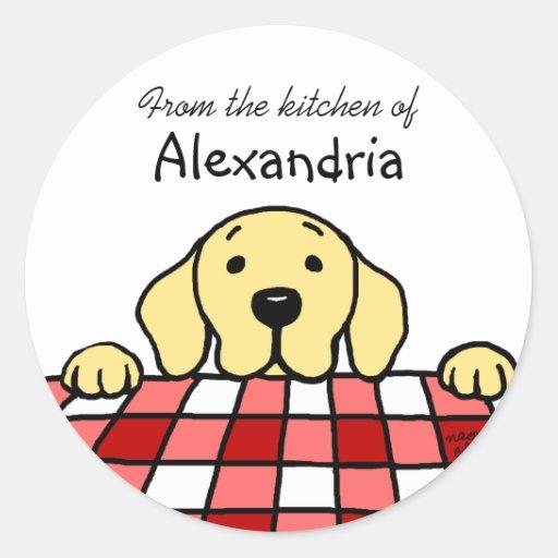 Labrador amarillo que le mira cocina pegatina