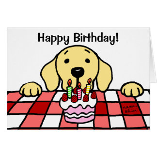 Labrador amarillo que le mira cumpleaños felicitación
