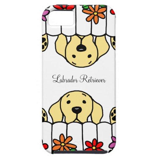 Labrador amarillo que le mira florece iPhone 5 cárcasa