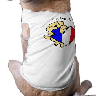 Labrador amarillo y dibujo animado francés del cor playera sin mangas para perro