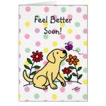 Labrador amarillo y dibujo animado verde felicitación