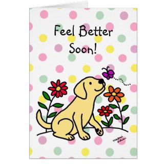 Labrador amarillo y dibujo animado verde tarjeta de felicitación