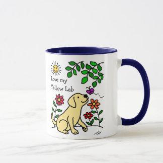 Labrador amarillo y verde taza
