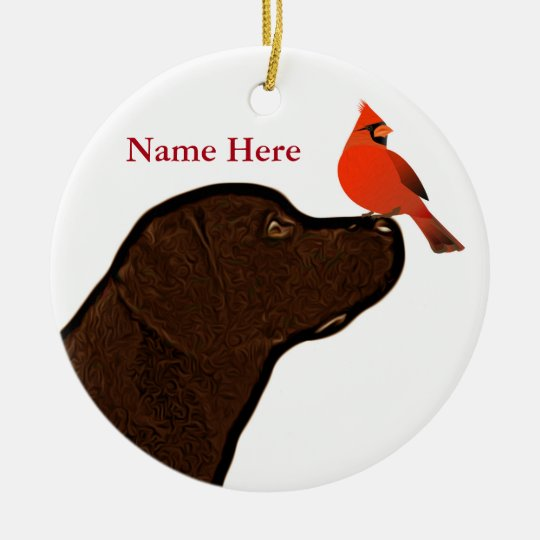 labrador and cardinal christmas ornament