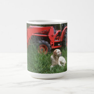 Labrador and Tractor in the field Mug