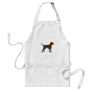 labrador ball fetch, chocolate lab play adult apron
