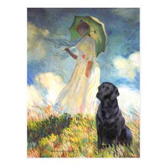 Labrador (black) - Umbrella Postcard