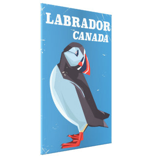 Labrador Canada Puffin vintage travel poster Canvas Print