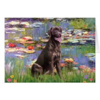 Labrador (Chcolate) - Lilies 2 Card