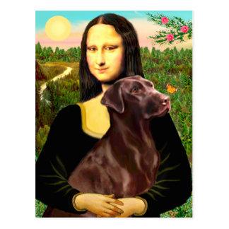 Labrador (Chcolate) - Mona Lisa Postcard