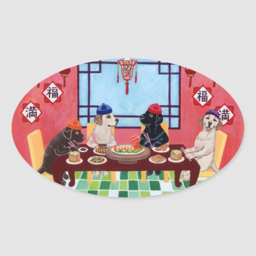 Labrador Chinese Restaurant Oval Stickers