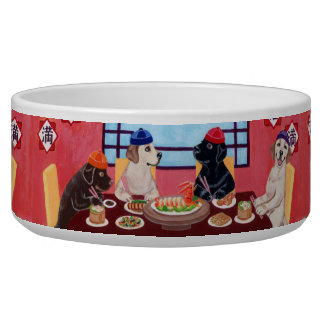 Labrador Chinese Restaurant Painting Pet Water Bowl