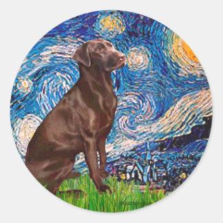 Labrador Chocolate1 - noche estrellada Etiquetas
