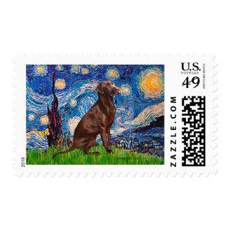 Labrador (Chocolate1) - noche estrellada Sello