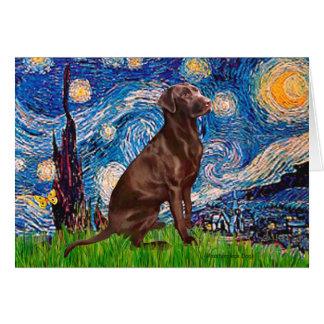 Labrador (Chocolate1) - Starry Night Card