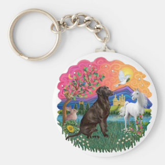 Labrador (Chocolate) Basic Round Button Keychain