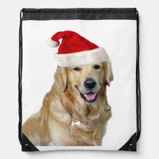 Labrador christmas-santa claus dog-santa dog-pet drawstring bag