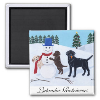 Labrador Christmas with Snowman 2 Inch Square Magnet