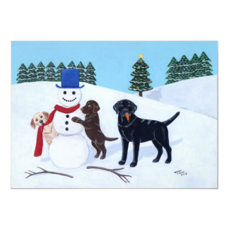 Labrador Christmas with Snowman Card