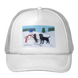Labrador Christmas with Snowman Hats