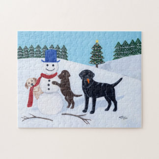 Labrador Christmas with Snowman Jigsaw Puzzle