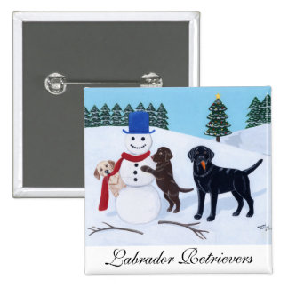Labrador Christmas with Snowman Pinback Buttons