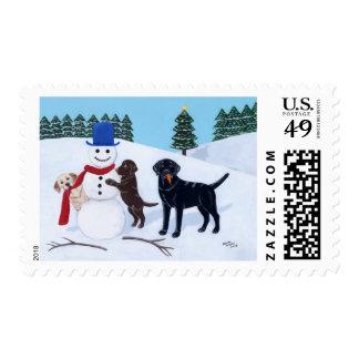 Labrador Christmas with Snowman Postage Stamp