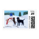 Labrador Christmas with Snowman Postage Stamps