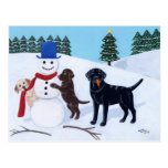 Labrador Christmas with Snowman Postcard
