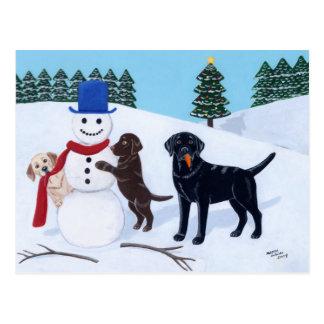 Labrador Christmas with Snowman Postcard