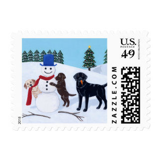 Labrador Christmas with Snowman Stamps
