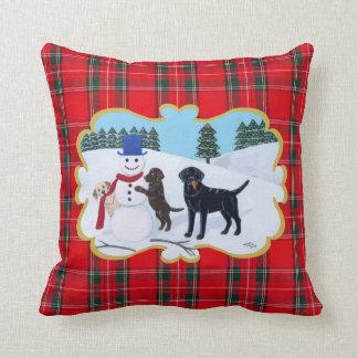Labrador Christmas with Snowman Throw Pillow