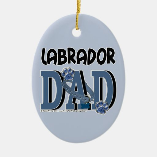 Labrador DAD Double-Sided Oval Ceramic Christmas Ornament