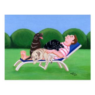 Labrador Dad Painting Postcard