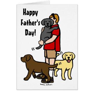 Labrador Daddy Trio Cartoon Card