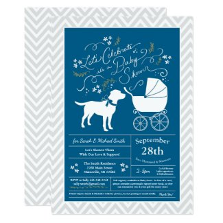 Labrador Dog Baby Shower Blue Boy Lab Invitation
