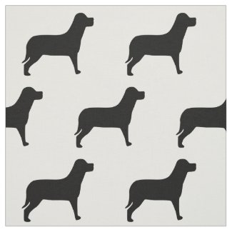 Labrador Dog Black And White Pattern Fabric