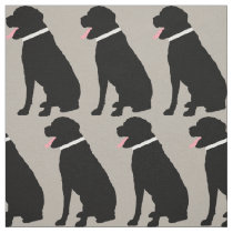 Labrador Dog Black Pattern Fabric