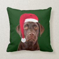 Labrador dog Christmas throw pillow