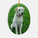 Labrador Dog Cute Lab Double-Sided Oval Ceramic Christmas Ornament