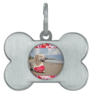 Labrador dog Heart Happy Valentine's day Pet Name Tag