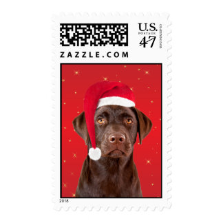Labrador dog in santa hat Christmas postage