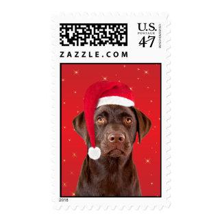 Labrador dog in santa hat Christmas postage