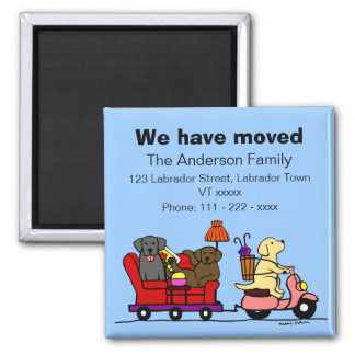 Labrador Dogs Cartoon Moving Annoucement 2 Inch Square Magnet