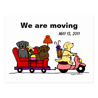 Labrador Dogs Cartoon Moving Annoucement Post Card