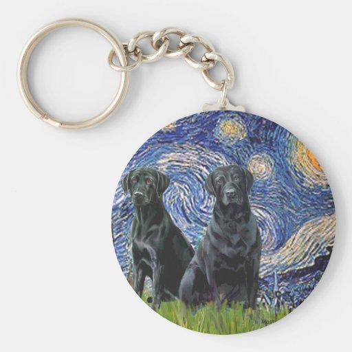 Labrador (dos negro) - noche estrellada llavero