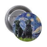 Labrador (dos negro) - noche estrellada pins