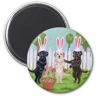 Labrador Easter Bunnies!! 2 Inch Round Magnet