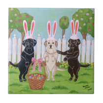 Labrador Easter Bunnies Painting Ceramic Tile
